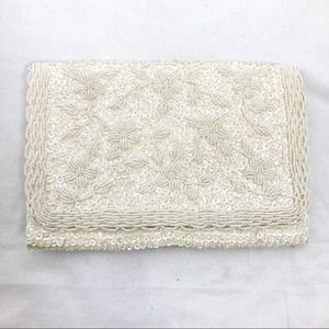 Vintage white beaded clutch cream floral sequins